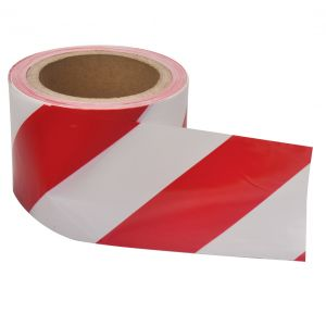 Image for OX 75mm x 100m Red/White Single Sided Barrier Tape - Box of 20