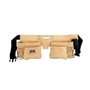 Trade Heavy Duty Suede Leather Double Pocket Tool Belt